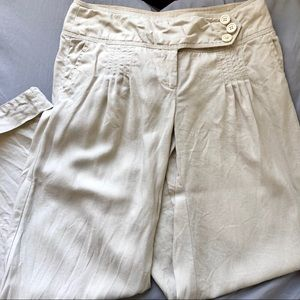 Anthro Elevenses Linen Flare Leg Pants 6 Off White
